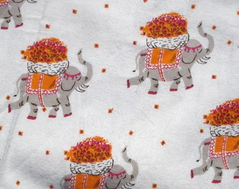 Heather Ross Munki Munki Flannel PJ leg panel elephants fabric