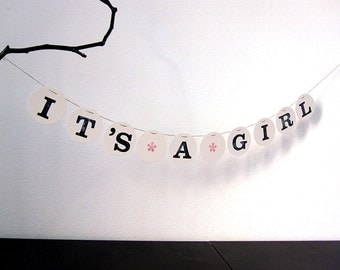 IT'S A GIRL banner // baby shower garland handmade by renna deluxe