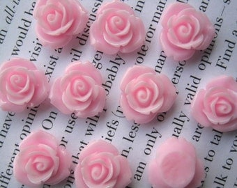 Pink  Resin Flower Cabochon 15 mm