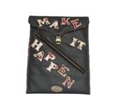 FREE SHIPPING. Dark Gray PU Leather iPad Sleeve. Handmade Table Sleeve. Gadget Sleeve w/ Positive Quote. Inspiration iPad Sleeve
