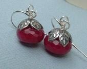 Ruby Jewelry, Ruby Earrings,  Marsala Ruby Earrings, Ruby Jade Earrings, Ruby Jewelry, Gift For Her, Bridesmaids Gift