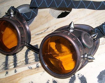STEAMPUNK CYBER Welders GOGGLES Antique Copper Distressed Rust Look w/Metal Spikes