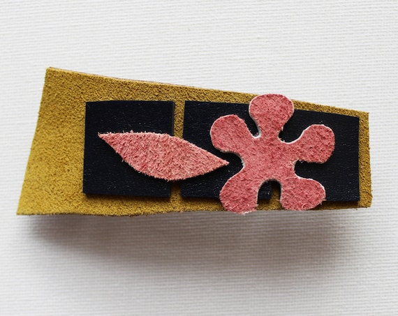 September Flower Medium Chunky Hair Clip - Reclaimed Leather Hair Barrette Clip Accessory