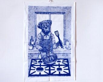 Labrador Dog Tea Towel cooking breakfast in the kitchen navy