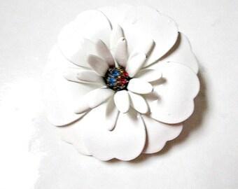 White Enamel Brooch Rhinestone Vintage Flower Pin