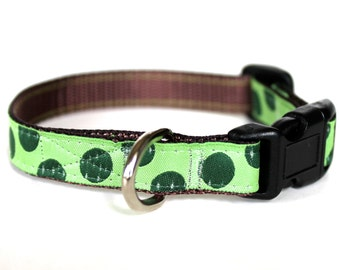 Green Polka Dot Adjustable Collar, Teacup, Kitty Cat Collar, Puppy, Tiny Dog, Green, 1/2 inch width