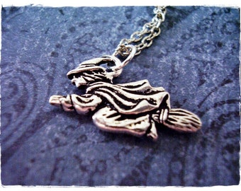 Silver Flying Witch Necklace - Silver Pewter Flying Witch Charm on a Delicate Silver Plated Cable Chain or Charm Only