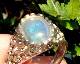 Welo Opal Sterling Silver Ring