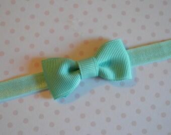 Aqua Baby Bow Headband. Tiny Aqua Bow Headband. Baby Hair Accessories. Baby Girls Hair Accessories. Baby Bow Headband. Aquamarine Bow
