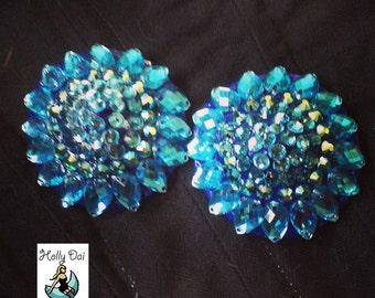 Blue Ocean Aurora  Rhinestone BURLESQUE couture pasties