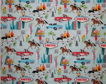 A Route 66 On The Road M'Liss Cotton Fabric By The Yard Free US Shipping