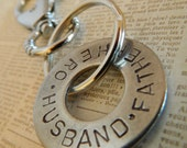 Hand stamped washer keychain for Dad Hero Father Husband Soldier Fireman Rescuer Marine