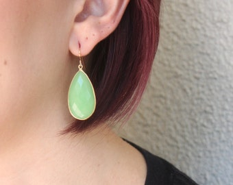Green Chalcedony of the Sea Marquis Drop Earrings