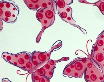 Art on Silk Butterflies with Pink Dots Art Print 15 percent off