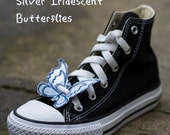 Fly MY ButterFLY Silver Iridescent Shoe Wings - Get your Shoe Shinez ON )(