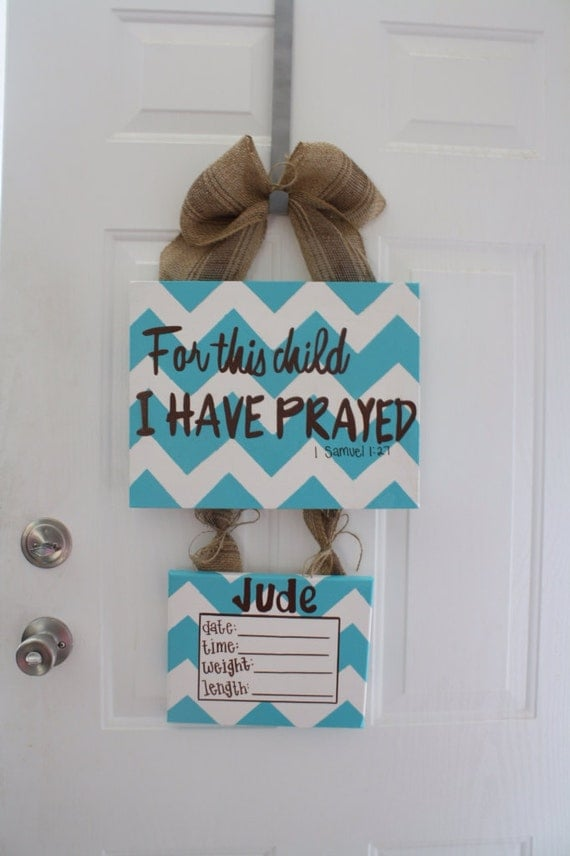 Items similar to hospital door hanger birth announcement for Baby boy hospital door decoration
