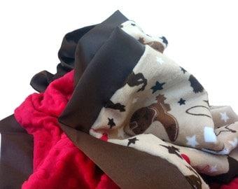 Western Cowboy Minky Baby Blanket with Flat Satin trim or Ruffle Trim