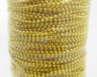 100 m plastic beads chain , gold plated , 4mm