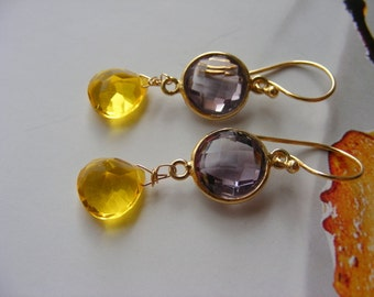 Amethyst and Bright Yellow Quartz Briolette Earrings.