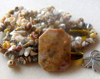 Crazy Lace Agate, Wood Jasper, Glass Pearls, Glass Beads, Gemstone Beads, DIY Jewelry Kit, Bead Kits, Craft Supply, Jewelry Making Beads