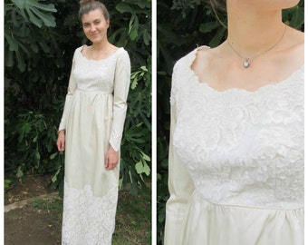 50s 60s empire waist Satin and Lace Wedding Dress 1950s 1960s ivory column simple gown with long sleeves fitted bodice   XS small bridal
