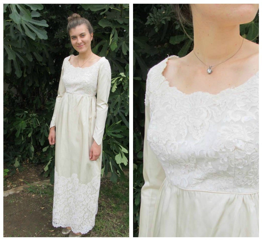 50s 60s Empire Waist Satin And Lace Wedding Dress Ivory Column
