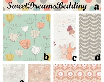 Custom Crib Bedding You Design  in Littlest peach and grey