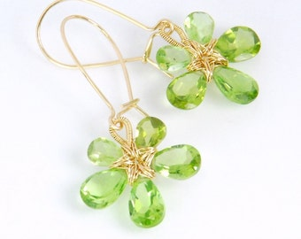 Gemstone flower earrings, peridot earrings, August birthstone, 14K gold filled wire wrapped flower earrings, rare grade AA natural peridot
