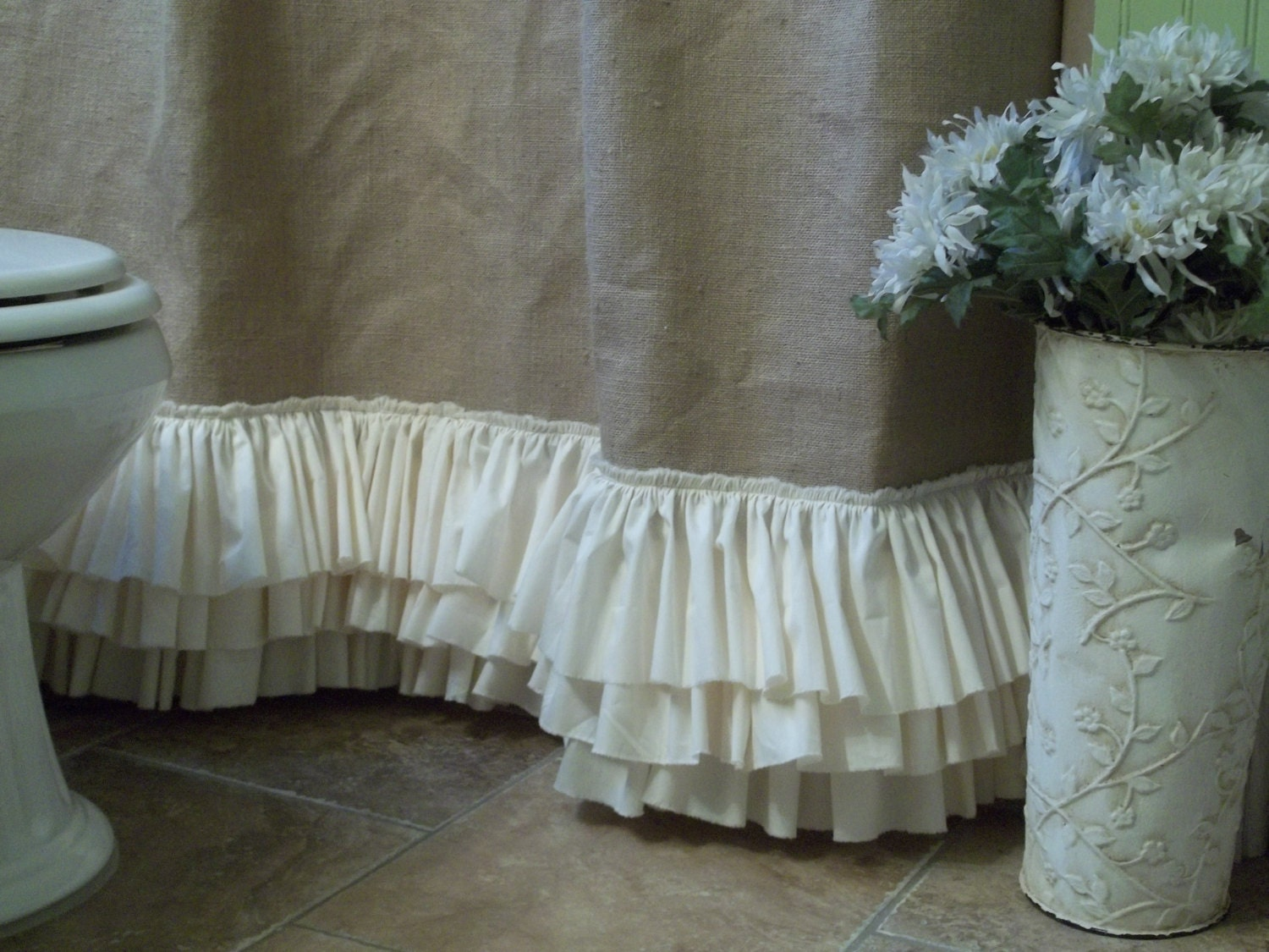 Burlap Shower Curtain with Rows of Tattered by SimplyFrenchMarket