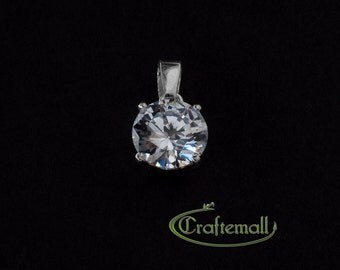 Clearance: 1 Sterling silver pendant with cubic zirconia - ZPDB001W-10