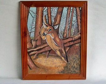 Vintage Framed Felt Painting - Jumping Deer in the Woods