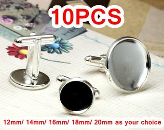 10 Cufflinks- Brass Silver Plated Tone Cufflink W/ Round Bezel Cup Mountings, 12mm/ 14mm/ 16mm/ 18mm/ 20mm as your choice