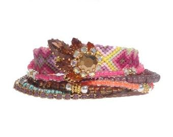SALE Multistrand beaded bracelet - neon bracelet - summer bracelet - friendship bracelet with repurposed vintage - hippie style