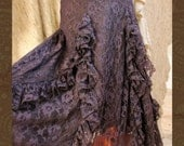 Black Lace Gypsy Renaissance Ruffle Skirt