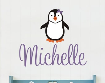Personalized Name With Penguin, Custom Vinyl wall decals stickers, nursery, kids & teens room, removable decals stickers