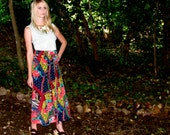 Vintage Rainbow FLORAL Abstract PRINT Mid LONG  Trumpet Skirt
