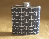 End of Summer Sale Navy Blue with White Anchors Print Stainless Steel 6 ounce Gift Flask KR2D 7592