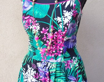 Vintage 1980s Melissa Colorful Cotton Sun Dress Sz 8