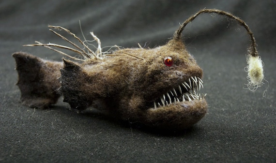 Anglerfish needle felted animal by grisha dubrovsky by strays for Angler fish toy
