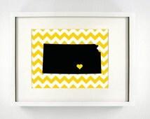 Wichita, Kansas State Giclée Map Art Print  - 8x10 - Graduation Gift Idea - Dorm Decor