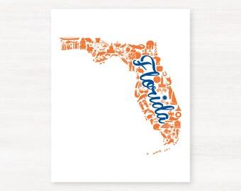 Gainesville, Florida Landmark State Giclée Print - 8x10 - Graduation Gift Idea - Dorm Decor