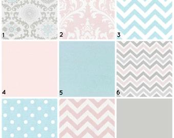 Serene Pink and Gray Rosa Bumperless Custom Crib Bedding