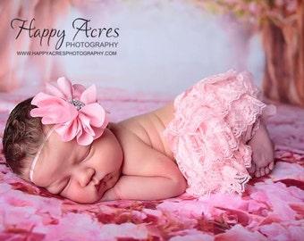 PINK newborn headband, baby headband, newborn photography prop