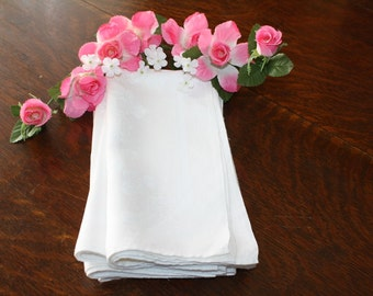 Linen Napkins Large Vintage Damask Chrysanthemums Set of 5