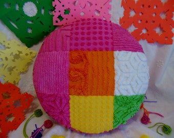 Gorgeous Round Soft Vintage Cotton Chenille Patchwork Pattern Pillow * Bright Festive Summer Colors * Dream