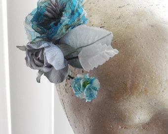 Boho Teal and Turquoise Silk Flower clip
