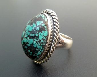 Sterling Silver and Turquoise Statement Ring - Handmade Sterling Silver and Green Black Mottled Turquoise Statement Ring - Size 7.3