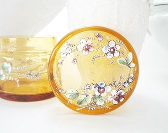 SALE Vintage Glass Trinket Box Antique Glass Vanity Box Enameled  Amber Glass Jewelry Box Ring Box