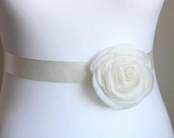 Bridal sash, belt with ivory flower