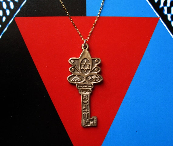 Custom Listing for Toral2 Key Talisman - Pendant - Necklace - Bronze - Gold Plated Chain - Magic - Magik - Protection - Symbols